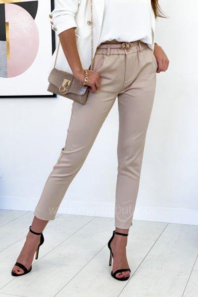 Spodnie cygaretki + pasek - beige