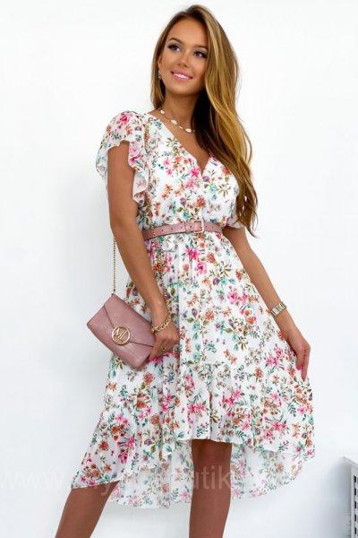 Sukienka LILIANA 3 - white/pink