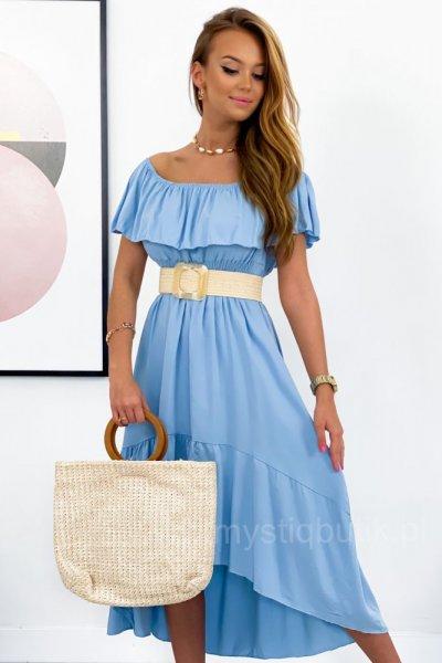 Sukienka hiszpanka maxi asymetryczna - blue
