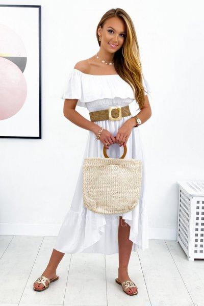 Sukienka hiszpanka maxi asymetryczna - white