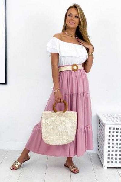 Spódnica MAXI + pasek - pink