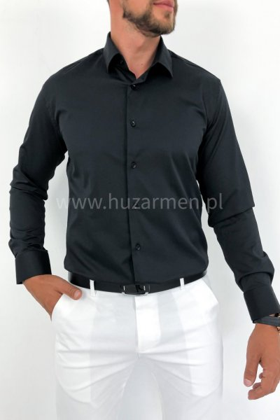 Koszula czarna klasyczna z kołnieżykiem H3