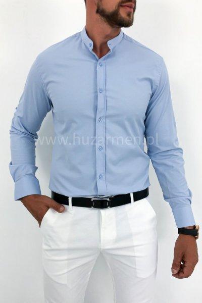 Koszula męska błękitna ze stójką H07