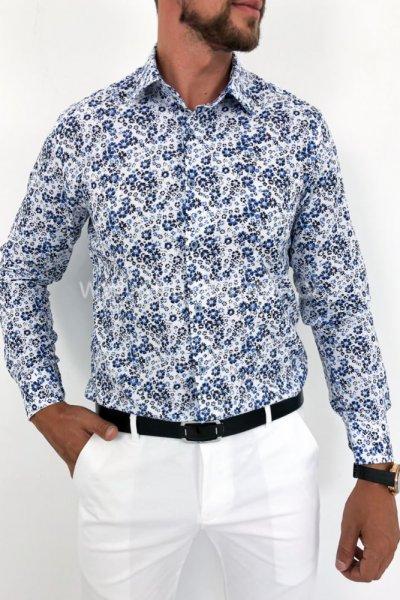 Koszula męska Small Flowers H13 biała w niebieskie kwiaty