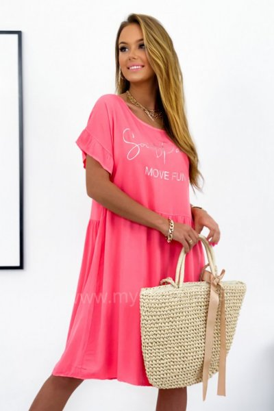 Sukienka MOVE FUN oversize - łososiowa