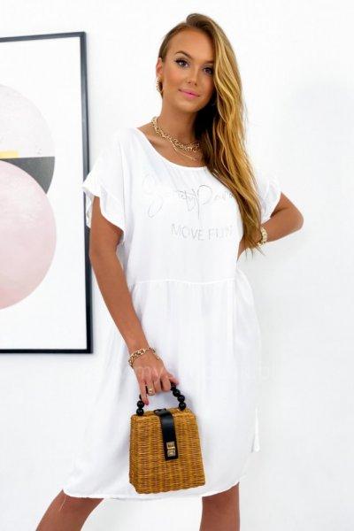 Sukienka MOVE FUN oversize - biała