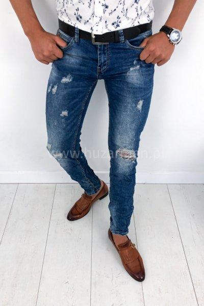 Spodnie męskie jeans z przetarciami RM-8290