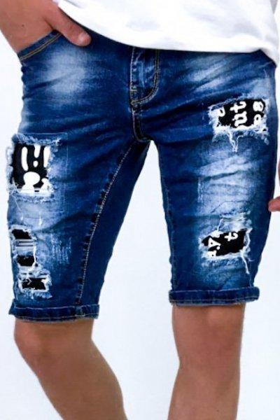 Spodenki męskie jeans ze wstawkami - blue