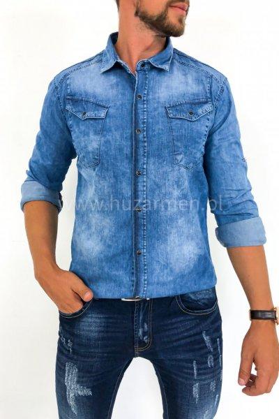 Koszula męska jeans z czarnymi zatrzaskami