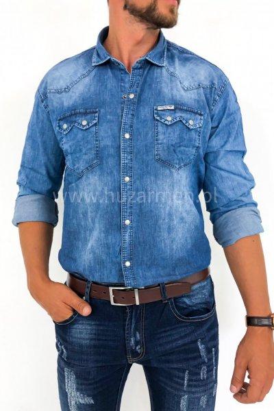 Koszula męska jeans z szarymi zatrzaskami