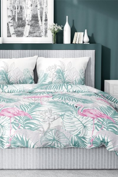 Pościel Bawełna Satynowa FLAMINGI 200x220 - zielono-różowa