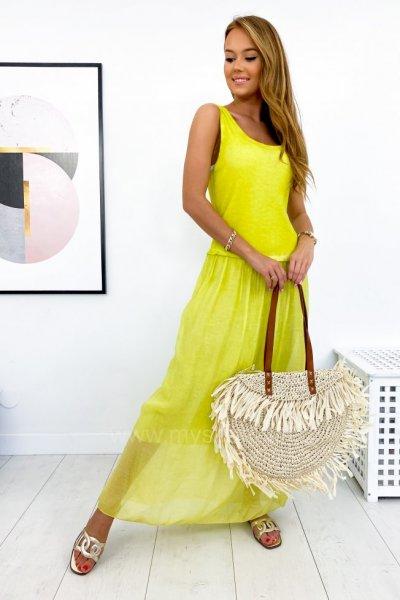 Sukienka ROMANTICA maxi - lemon