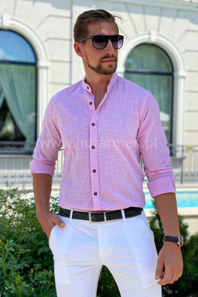 Koszula męska ze stójką a la lniana w paski H02 Róż