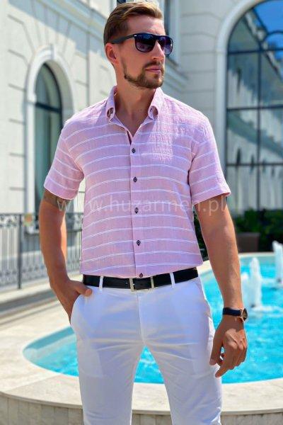 Koszula męska a la lniana w białe paski H03 róż któtki rękaw