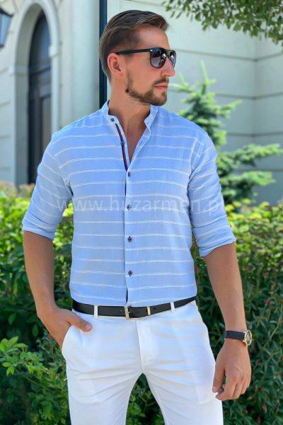 Koszula męska a la lniana w białe paski H03 niebieska