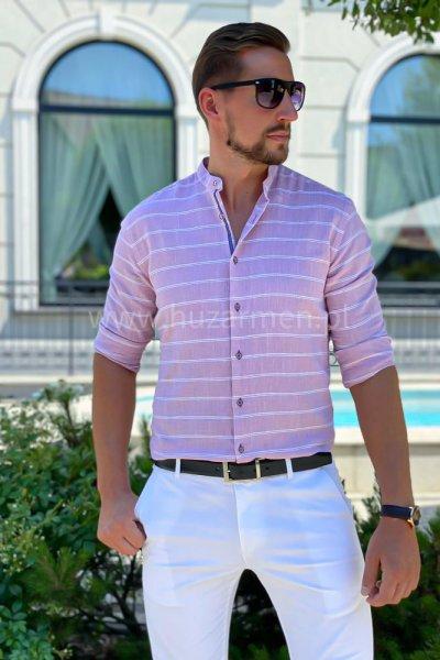 Koszula męska a la lniana w białe paski H03 Róż