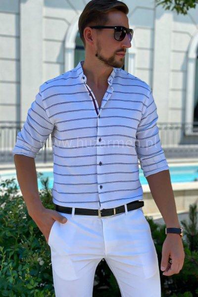 Koszula męska a la lniana w białe paski H03 Ecru/biel