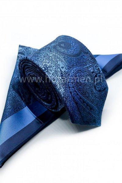 Krawat męski + poszetka ORNAMENT- odcienie niebieskiego i błękitu
