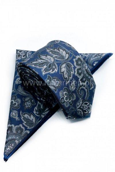 Krawat męski + poszetka ORNAMENT- granatowy w kwiatowe wzory