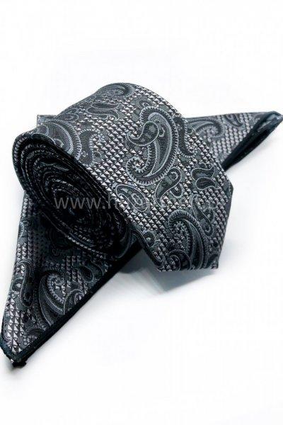Krawat męski + poszetka ORNAMENT- ciemny szary z czernią