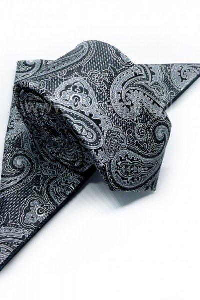 Krawat męski + poszetka ORNAMENT - szaro czarny