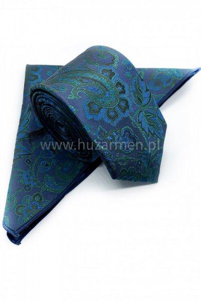 Krawat męski + poszetka ORNAMENT- fioletowy z zielonym ornamentem