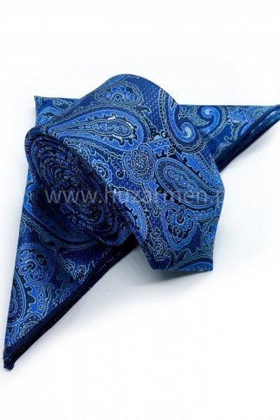 Krawat męski + poszetka ORNAMENT - niebieski