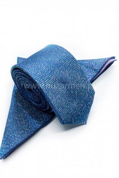 Krawat męski + poszetka ORNAMENT- niebieski z różowymi akcentami