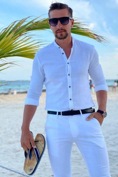 Koszula a la lniana biała ze stójką 2