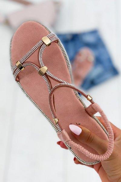 Sandałki z cyrkoniami SHINE - pink