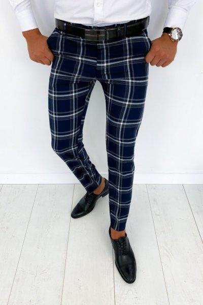 Spodnie męskie elegancki w kratę granat H011 - KANT