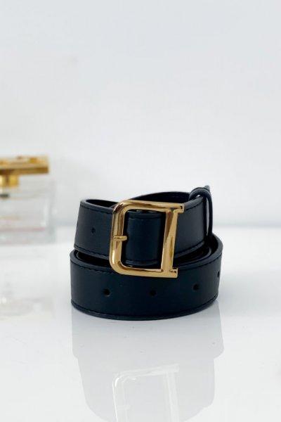 Pasek ECO ze złotą klamrą 2 cm - black