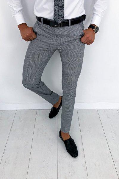 Spodnie męskie materiałowe w drobną pepitkę H62
