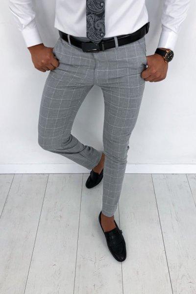 Spodnie męskie materiałowe szare w białą kratę H61