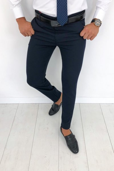 Spodnie męskie materiałowe - Granat H58
