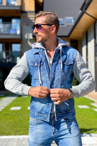 Kurtka męska jeans z dresowymi rękawami i kapturem LSY2121