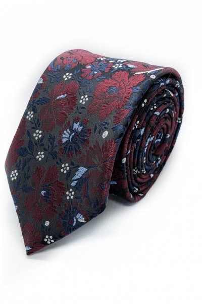 Krawat męski Flowers bordo z granatem