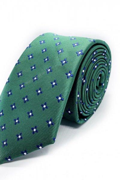 Krawat męski zielony w drobne kwiaty