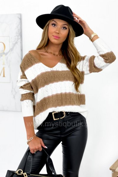 Sweter FRANCOIS w pasy - latte/ecru