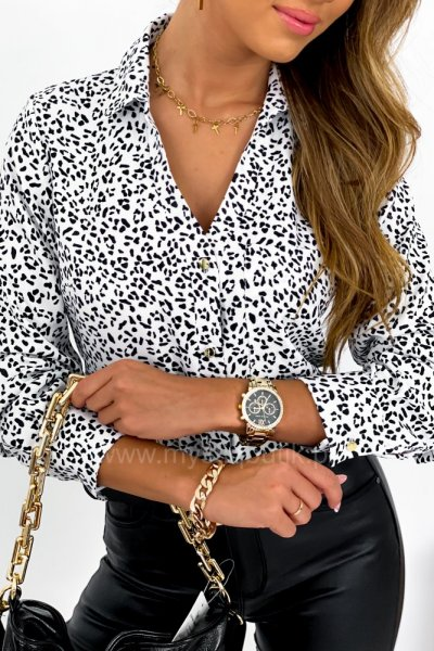 Koszula PURRA w panterkę - black/white