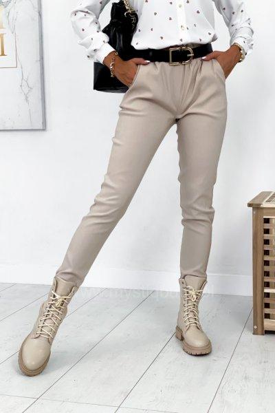 Spodnie z gumką w pasie - beige