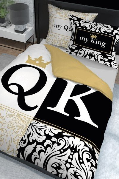 Pościel Holenderska my Queen/my King - 160x200 - black/gold/white