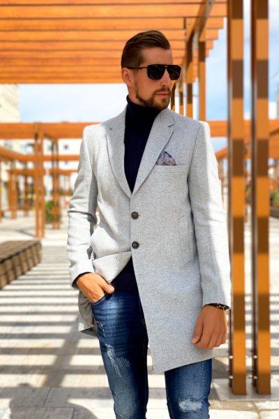 Płaszcz męski szary jednorzędowy H22