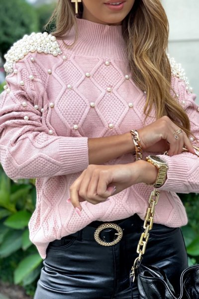 Sweter PEARL lux - pink