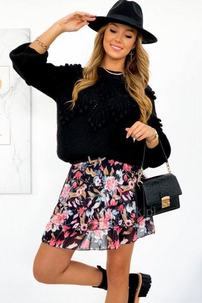 Spódnica mini szyfon FLOWERS 2 - black
