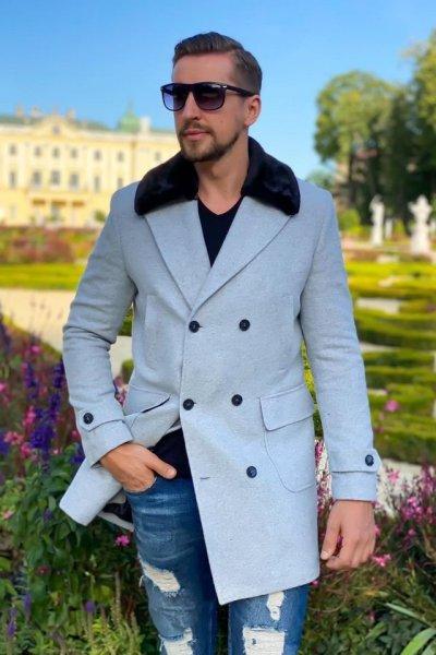 Płaszcz męski dwurzędowy H15 Szary