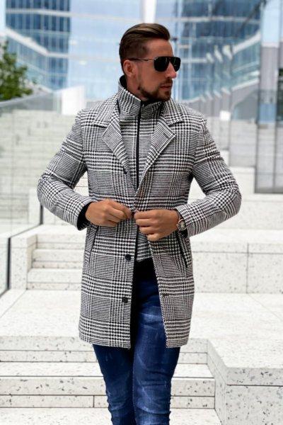 Płaszcz męski zimowy H12 wzór pepitka/krata