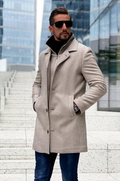 Płaszcz męski zimowy beżowy H15 wzór jodełka