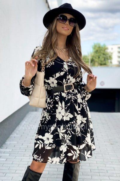 Sukienka flowers - black/ecru