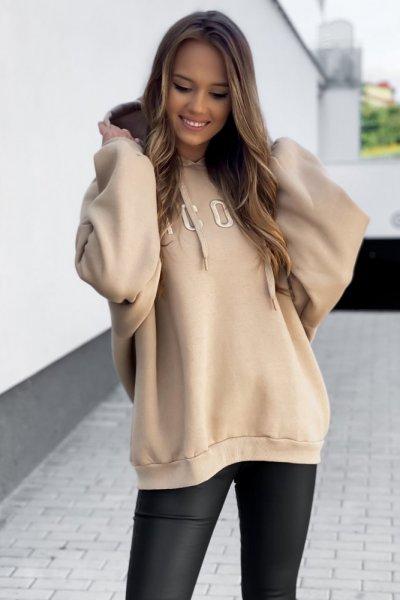 Bluza z kapturem ocieplana ICON - camel